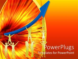 PowerPlugs: PowerPoint template with group of people working hand in hand to achieve success