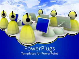 PowerPlugs: PowerPoint template with a group of people working on systems