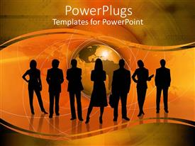 PowerPlugs: PowerPoint template with a group of professional people with globe in the background