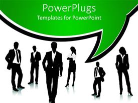 PowerPoint template displaying a group of professional people with white background