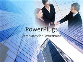 PowerPlugs: PowerPoint template with a group of professionals with building in the background
