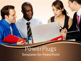 PowerPoint template displaying group of professionals discuss with laptop in front