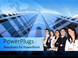 PowerPoint template displaying group of professionals in front of high rise building