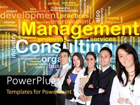 PowerPlugs: PowerPoint template with group of professionals with management and consulting terms on black background