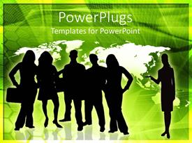 PowerPlugs: PowerPoint template with a group of professionals with map of the Earth in background