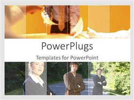 PowerPlugs: PowerPoint template with a group of professionals standing on the road