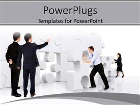 PowerPlugs: PowerPoint template with a group of professionals trying to solve a puzzle