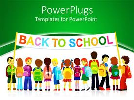 PowerPlugs: PowerPoint template with group of pupils holding a large colored back to school banner on white and green background
