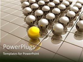 PowerPlugs: PowerPoint template with group of reflective silver following a gold sphere leader on shiny metallic grid background