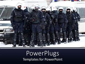 PowerPlugs: PowerPoint template with group of riot police officers ready for action
