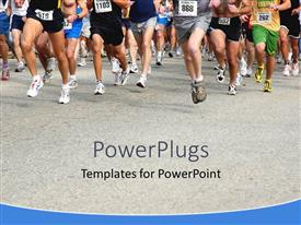 PowerPlugs: PowerPoint template with group of runners at running competition, feet of running people in contest