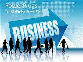 PowerPlugs: PowerPoint template with group of silhouettes of business people following the arrow with business word