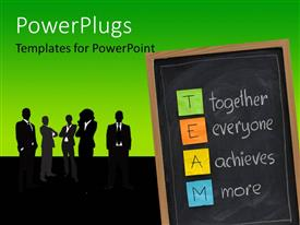 PowerPlugs: PowerPoint template with group of silhouettes next to chalkboard with Together Everyone Achieves More sticky notes
