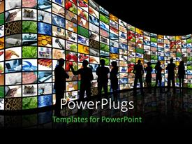 PowerPlugs: PowerPoint template with group of silhouettes standing facing large wall of screens with various depictions