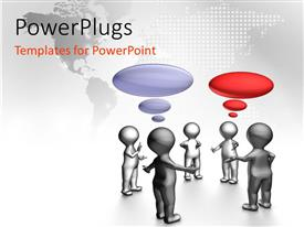 PowerPlugs: PowerPoint template with group of silver figures standing in a circle having a discussion