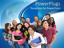 PowerPlugs: PowerPoint template with group of smiling college students standing together with note books and other supplies