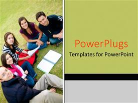 PowerPlugs: PowerPoint template with group of smiling college students study together outdoors on grass