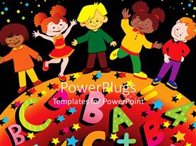 PowerPoint template displaying a group of smiling school going children on black background