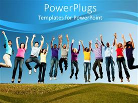 PowerPoint template displaying group of smiling young people jumped with arms stretched to sky