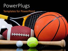 PowerPlugs: PowerPoint template with group of sports equipment on black background including tennis basketball baseball American football