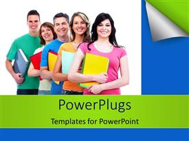 PowerPlugs: PowerPoint template with group of students carrying colored books line up on white surface
