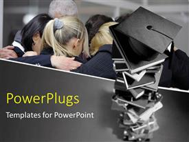 PowerPlugs: PowerPoint template with group of students form close circle with pile of graduation caps
