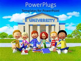 PowerPlugs: PowerPoint template with group of students sittngon grass outside university