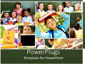 PowerPlugs: PowerPoint template with group of students and teacher learning