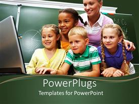 PowerPlugs: PowerPoint template with a group of students with a teacher looking on a screen