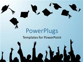 PowerPlugs: PowerPoint template with group of students tossing hats at graduation ceremony