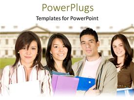 PowerPoint template displaying a group of students with their university building in the background