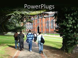 PowerPlugs: PowerPoint template with group of students walking down college side walk