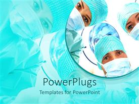 PowerPlugs: PowerPoint template with a group of surgeons with their reflection in the background