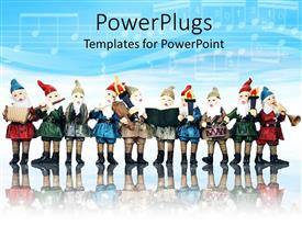 PowerPoint template displaying group of ten elves playing musical instruments at christmas with reflection in background