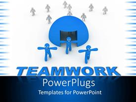 PowerPoint template displaying group of white figures going through blue sphere and three blue figures getting out from sphere on top of blue teamwork word