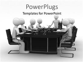 PowerPlugs: PowerPoint template with group of white figures sitting around black table with microphones