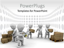PowerPoint template displaying group of white figures working together to stack boxes on a pallet