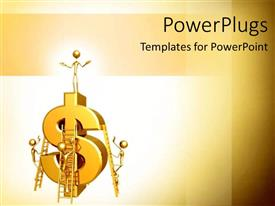 PowerPlugs: PowerPoint template with group work building business and income projection salary increase money gold