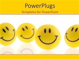 PowerPlugs: PowerPoint template with a group of yellow smiling smiley faces over white background