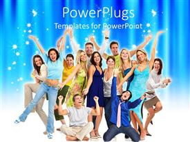 PowerPoint template displaying group of young happy people jumping and smiling with hands raised