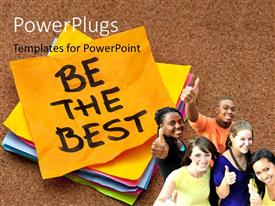 PowerPoint template displaying group of young people showing thumbs up gestures next to Be The Best note