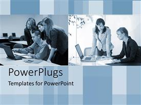 PowerPlugs: PowerPoint template with groups of business people working around laptops