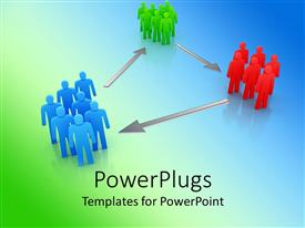 PowerPlugs: PowerPoint template with groups of green, red and blue figures connected by gray arrows