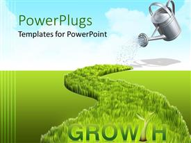 PowerPlugs: PowerPoint template with growing concept with watering can watering the grass, grown grass on a green field and the word growth with green tree instead of T letter, with blue sky in the background