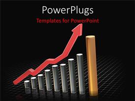 PowerPlugs: PowerPoint template with growing profit increasing graphs bar charts economy finances black background