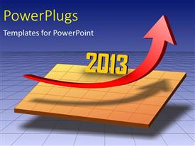 PowerPlugs: PowerPoint template with the growth arrow with a bluish background