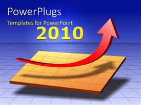 PowerPlugs: PowerPoint template with a growth arrow with a bluish background