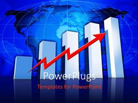 PowerPlugs: PowerPoint template with a growth bar with an arrow and globe in the background