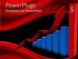 PowerPoint template displaying a growth bar with a reddish background and place for text