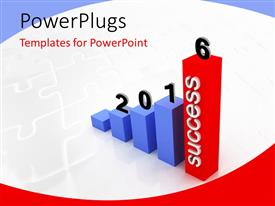 PowerPoint template displaying growth chart of 2016 with 3D bars on a white background